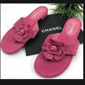Chanel Authentic CC Logo Camellia Thong Sandals
